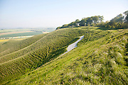 White horse in chalk scarp slope Cherhill, Wiltshire, England, UK dating form 1780