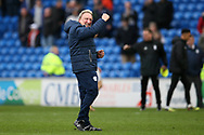 Neil Warnock, the manager of Cardiff City celebrates his teams win at the end of the game.EFL Skybet championship match, Cardiff city v Birmingham City at the Cardiff city stadium in Cardiff, South Wales on Saturday 10th March 2018.<br /> pic by Andrew Orchard, Andrew Orchard sports photography.