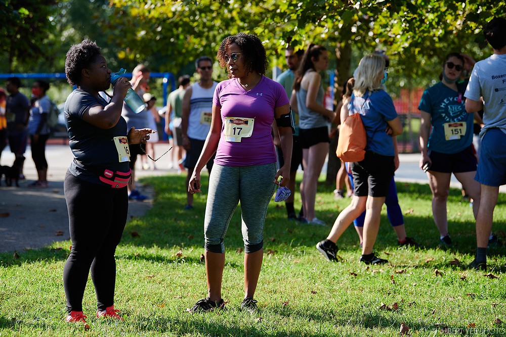 On September 18, 2021, walkers and runners enjoy the scenic cliff paths of the Boxers' Trail in East Fairmount Park where heavyweight boxing champion Joe Frazier trained.<br /> <br /> Proceeds from the Boxers' Trail 5K benefit East Fairmount Park and Mander Recreation Center, which organizes youth programs, including runs along the Boxers' Trail.<br /> <br /> September 18, 2021<br /> for Fairmount Park Conservancy