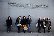 Young Chinese tourists at the Tower of London, UK. There is a very evident increase in tourism from China in the city.