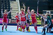 Hannah Martin celebrates scoring. England v Argentina, Lee Valley Hockey and Tennis Centre, London, England on 10 June 2017. Photo: Simon Parker