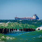 Freighter Underway In Lake Superior