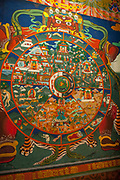 A painting of The Buddhist Wheel of Life inside of a Buddhist temple in Paro, it represents the continuous cycle of birth, life and death.