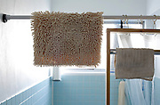 bathroom with rug and small towel hanging to dry