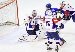 ROBERT KRISTAN of Slovenia vs Konstantin Romanov of Kazakhstan during Friendly Ice-hockey match between National teams of Slovenia and Kazakhstan on April 9, 2013 in Ice Arena Tabor, Maribor, Slovenia.  (Photo By Vid Ponikvar / Sportida)