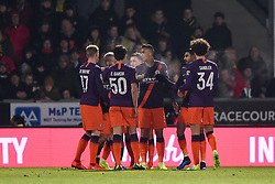 January 23, 2019 - Burton-Upon-Trent, Staffordshire, United Kingdom - Manchester City players celebrate after scoring a goal to make it 0-1 during the Carabao Cup match between Burton Albion and Manchester City at the Pirelli Stadium, Burton upon Trent on Wednesday 23rd January 2019. (Credit: MI News & Sport) (Credit Image: © Mark Fletcher/NurPhoto via ZUMA Press)