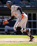 CHICAGO - MAY 24:  Adam Jones #10 of the Baltimore Orioles bats against the Chicago White Sox on May 21, 2018 at Guaranteed Rate Field in Chicago, Illinois.  (Photo by Ron Vesely)  Subject: Adam Jones