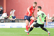 Tom Allan of York City (3) passes the ball forward during the Vanarama National League North match between York City and Curzon Ashton at Bootham Crescent, York, England on 18 August 2018.