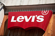 Sign for the clothing brand Levis in Birmingham, United Kingdom.