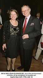 MR & MRS JOHN GUMMER MP., he is the environment minister, at an exhibition in London on September 24th 1996.LSG 18