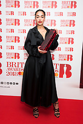 EDITORIAL USE ONLY XXXX Jorja Smith attending the Brit Awards 2018 Nominations event held at ITV Studios on Southbank, London. Photo credit should read: David Jensen/EMPICS Entertainment
