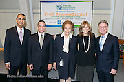 Bob Miglani, Dr. Eddy Bayardell, Dr. Charlotte Frank, Iris Blanc, Joe Dussich (L-R) at Virtual Enterprises International's Global Business Challenge was part of the Youth Business Summit held at NYU's Kimmel Center in New York on April 1, 2014. (Photo: JeffreyHolmes.com)