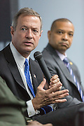 Former Maryland Governor and Democratic presidential candidate Martin O'Malley (left) during a discussion on gun violence with South Carolina State Senator Marlon Kimpson at Mt. Moriah Baptist Church October 22, 2015 in North Charleston, South Carolina.