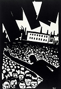 Meeting/Demonstration', 1919. Linocut. Vladidmir Kozlinsky.  Russia USSR  Communism Communist