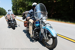 Evan Riggle riding his 1942 Indian 4-cylinder in the Cross Country Chase motorcycle endurance run from Sault Sainte Marie, MI to Key West, FL. (for vintage bikes from 1930-1948). Stage-6 from Chattanooga, TN to Macon, GA USA covered 258 miles. Wednesday, September 11, 2019. Photography ©2019 Michael Lichter.