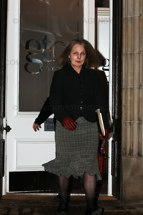 """In the first case of it's kind in Scotland, Susan Barnard has been struck off the teachers register after being found guilty of """"serious professional incompetence"""" at the General Teaching Council headquarters in Edinburgh...Pic shows Susan Barnard leaving the General Teaching Council building in Edinburgh after being struck off the teachers register."""