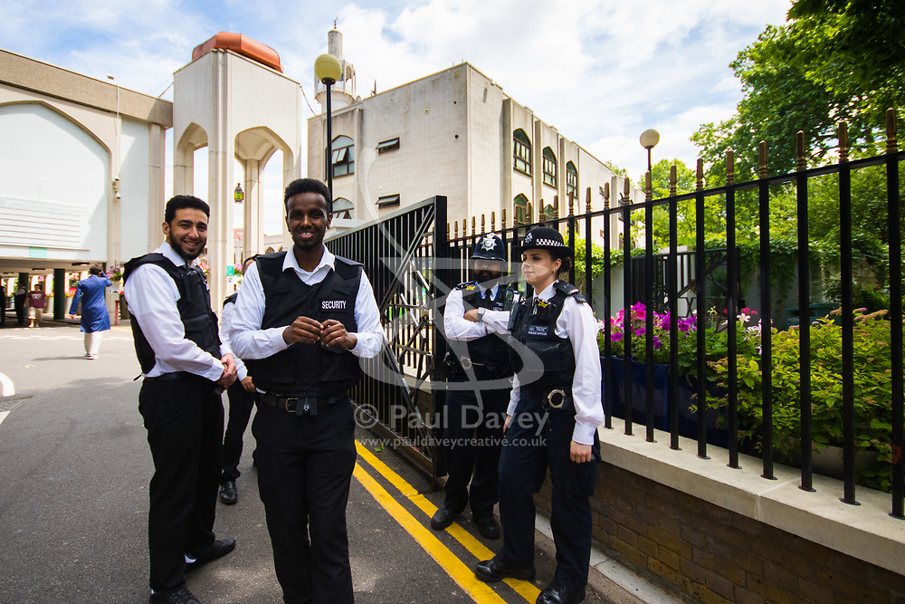 London, June 23rd 2017. Police are in evidence as Muslim worshippers gather for Friday Prayers at London Central Mosque in Regents Park, following the suspected terror attack in the early Hours of Monday June 19th when Darren Osbourne, 47, from Cardiff, now charged with terrorism-related murder, is alleged to have run down a group of Muslims in Finsbury Park.