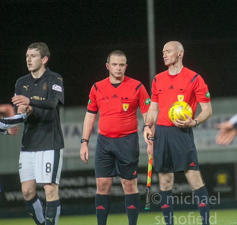 Ref Alan Newlands keeps the match ball after Falkirk's Lee Miller scored a hat-trick. Falkirk 4 v 1 Fraserburgh, Scottish Cup third round, played 28/11/2015 at The Falkirk Stadium.