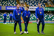 Northern Ireland players on the pitch ahead of the UEFA European 2020 Qualifier match between Northern Ireland and Estonia at National Football Stadium, Windsor Park, Northern Ireland on 21 March 2019.