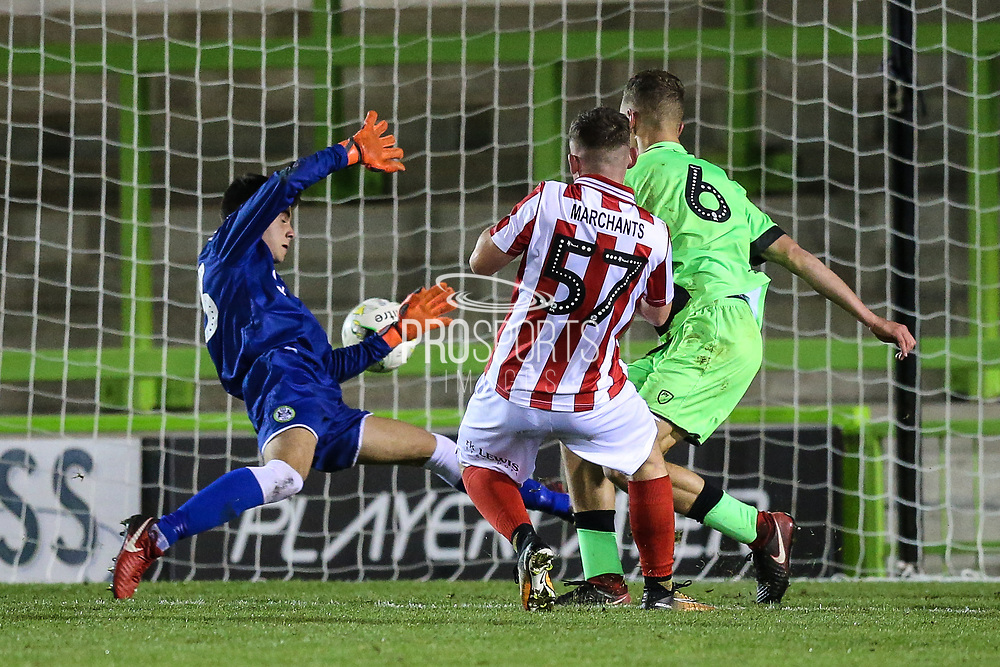 Cheltenham Towns Aaron Basford (57) shoots at goal scores a goal 1-3 during the FA Youth Cup match between U18 Forest Green Rovers and U18 Cheltenham Town at the New Lawn, Forest Green, United Kingdom on 29 October 2018.