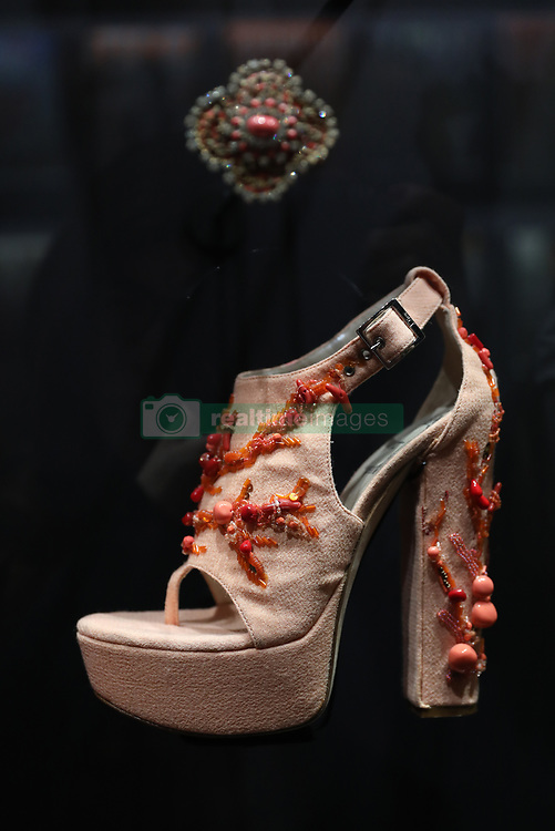 A shoe displayed at the 'Christian Dior: Designer of Dreams' at the Victoria and Albert Museum, London. Picture dated: Wednesday January 30, 2019. Photo credit should read: Isabel Infantes / EMPICS Entertainment.