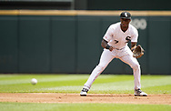 CHICAGO - AUGUST 14:  Tim Anderson #7 of the Chicago White Sox fields against the Houston Astros on August 14, 2019 at Guaranteed Rate Field in Chicago, Illinois.  (Photo by Ron Vesely/MLB Photos via Getty Images)  *** Local Caption *** Tim Anderson