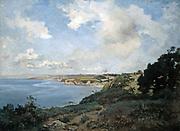 Douarnenez - Evening', 1872.   Oil on canvas.   France Emmanuel Lansyer (1835-1893) French landscape painter. Seascape  Blye Sky Cloud Cliff Coast