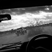 View from a UN car led by private security heading towards Dadaab in eastern Kenya. Hundreds of thousands of refugees are fleeing lands in Somalia due to severe drought and arriving in what has become the world's largest refugee camp. Photo: Sanjit Das/Panos