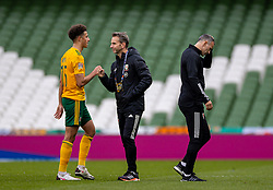 DUBLIN, REPUBLIC OF IRELAND - Sunday, October 11, 2020: Wales' assistant coach Albert Stuivenberg (R) with Ethan Ampadu (L) after the UEFA Nations League Group Stage League B Group 4 match between Republic of Ireland and Wales at the Aviva Stadium. The game ended in a 0-0 draw. (Pic by David Rawcliffe/Propaganda)