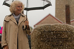 © Licensed to London News Pictures. 02/07/2012. Camborne, UK. The Duchess of Cornwall next to the commemorative Granite at Heartlands after unveiling it after the official opening. The Duke and Duchess of Cornwall are on a three day tour of Cornwall and the Isles of Scilly. Photo credit : Ashley Hugo/LNP
