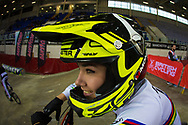 #1 (BUCHANAN Caroline) AUS at the 2014 UCI BMX Supercross World Cup in Manchester. Check out those headphones on her helmet...