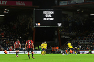 VAR allows the Sam Surridge (42) of AFC Bournemouth goal to make the score 2-1 during the The FA Cup match between Bournemouth and Arsenal at the Vitality Stadium, Bournemouth, England on 27 January 2020.