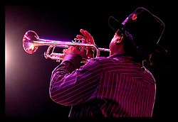 29th Oct, 2005.  After Katrina, New Orleans, Louisiana. Let the good times roll. Voodoo Fest tribute concert at Riverview Park. Kermit Ruffins returns to the stage and wows the crowd.