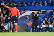 Jose Mourinho, the Chelsea Manager applauds Referee Cuneyt Cakir of Turkey to award Chelsea a free kick. UEFA Champions league group G match, Chelsea v Porto at Stamford Bridge in London on Wednesday 9th December 2015.<br /> pic by John Patrick Fletcher, Andrew Orchard sports photography.