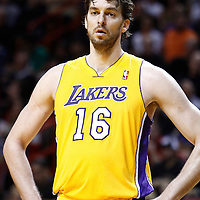 19 January 2012: Los Angeles Lakers power forward Pau Gasol (16) rests during the Miami Heat 98-87 victory over the Los Angeles Lakers at the AmericanAirlines Arena, Miami, Florida, USA.