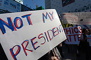 """A sign saying """"Not my President"""" at the Vote Out the Scandal rally at Hachiko Square, Shibuya, Tokyo, Japan. Sunday November 5th 2017. Timed to coincide with President Trumps visit to Japan, About 120 Americans living in Japan and some local Japanese  protested together from 2pm to 4pm to encourage US citizens to register to vote in future elections and call on the US government to honour it responsibilities to the American people,."""