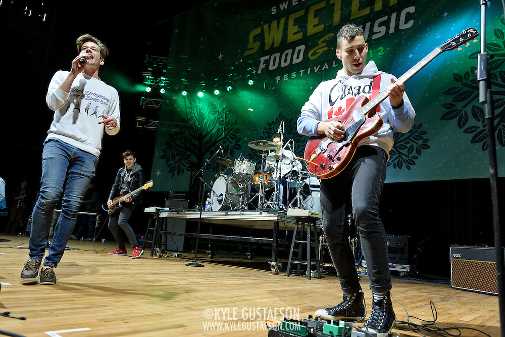 """COLUMBIA, MD - April 28th, 2012 -  Nate Ruess and Jack Antonoff of fun. perform at the 2012  Sweetlife Food and Music Festival  at Merriweather Post Pavilion in Columbia, MD. The band's hit """"We Are Young"""" recently reached number one on the U.S. Billboard Hot 100 and Digital Songs charts. (Photo by Kyle Gustafson/For The Washington Post)"""