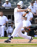 CHICAGO - AUGUST 25:  Nick Solak #15 of the Texas Rangers bats against the Chicago White Sox during Players Weekend on August  25, 2019 at Guaranteed Rate Field in Chicago, Illinois.  (Photo by Ron Vesely)  Subject:   Nick Solak