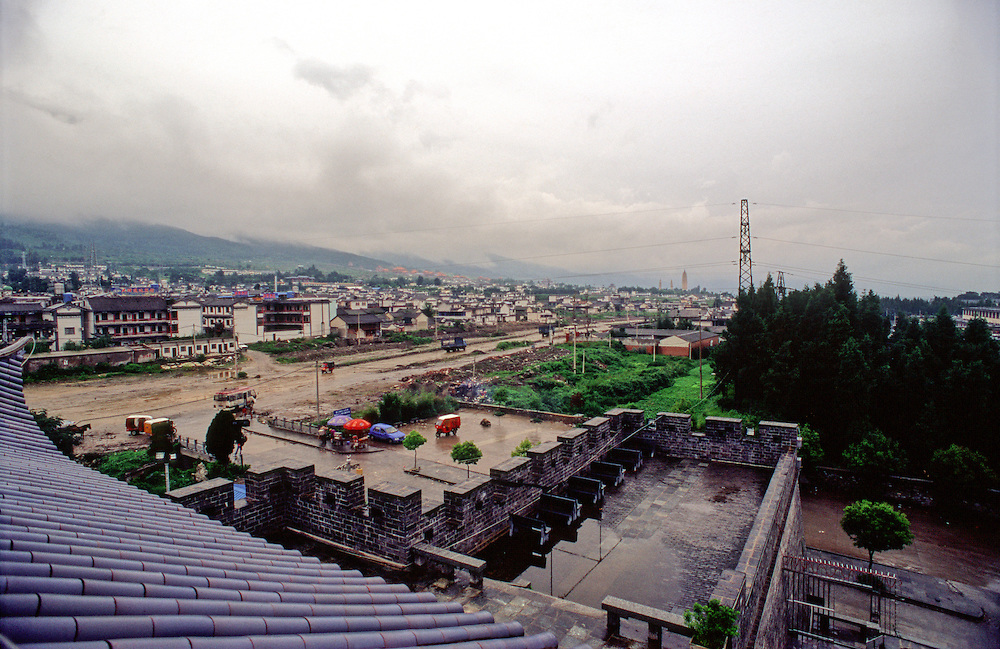Rain clouds form over the mountains around Yunnan province's Dali city in southern China.