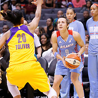 08 August 2014: Atlanta Dream guard Celine Dumerc (9) eyes the basket during the Los Angeles Sparks 80-77 overtime win over the Atlanta Dream, at the Staples Center, Los Angeles, California, USA.