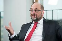 22 FEB 2016, BERLIN/GERMANY:<br /> Martin Schulz, SPD, Praesident des Europaeischen Parlamentes, waehrend einem Interview, Spiegel Hauptstadtbuero<br /> IMAGE: 20160222-01-027