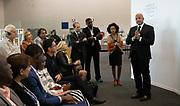 Sameer Hajee, Chief Executive Officer, Nuru Energy Group, Rwanda, Bruktawit Tigabu Tadesse, Chief Executive Officer and Creative Director, Whiz Kids Workshop, Ethiopia, Ernest Darkoh, Founding Partner and Co-Chief Executive Officer, BroadReach Healthcare, South Africa,  speaking during the session Social Innovation at the World Forum World Economic Forum on Africa 2019. Copyright by World Economic Forum / Greg Beadle