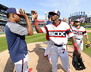 CHICAGO - SEPTEMBER 03:  Reynaldo Lopez #40 (L) and Tim Anderson #7 of the Chicago White Sox celebrate after the game against the Tampa Bay Rays on September 3, 2017 at Guaranteed Rate Field in Chicago, Illinois.  (Photo by Ron Vesely) Subject:   Reynaldo Lopez; Tim Anderson