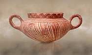 Very early Minoan rounded 2 handled pot with white and red linear motifs,  vaulted tombs Lebena 3000-2100 BC BC, Heraklion Archaeological  Museum.<br /> <br /> Made of grey clay these pots are the earliest found in the Lebena vaulted tombs .<br /> <br /> If you prefer to buy from our ALAMY PHOTO LIBRARY  Collection visit : https://www.alamy.com/portfolio/paul-williams-funkystock/minoan-art-artefacts.html . Type -   Heraklion   - into the LOWER SEARCH WITHIN GALLERY box. Refine search by adding background colour, place, museum etc<br /> <br /> Visit our MINOAN ART PHOTO COLLECTIONS for more photos to download  as wall art prints https://funkystock.photoshelter.com/gallery-collection/Ancient-Minoans-Art-Artefacts-Antiquities-Historic-Places-Pictures-Images-of/C0000ricT2SU_M9w