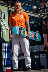 Skakeboarder Candy Jacobs during the contract extension between NOC*NSF with Pieter van den Hoogenband and Gazelle with Mirjam van Coillie on May 12, 2020 in Eindhoven