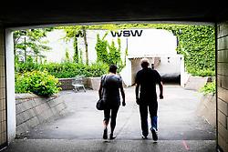 People walk through pedestrian underpasses in Basildon, Essex