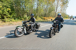 Licenced Harley-Davidson artist Scott Jacobs riding his 1926 Harley-Davidson JD beside his wife Sharon Jacobs on her 1936 Harley-Davidson VLH during Stage 16 (142 miles) of the Motorcycle Cannonball Cross-Country Endurance Run, which on this day ran from Yakima to Tacoma, WA, USA. Sunday, September 21, 2014.  Photography ©2014 Michael Lichter.