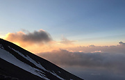 Mount Fuji sunset, or Fujiyama, above the clouds. It is the tallest mountain in Japan.<br /> Location: Yamanashi, Honshu, Japan