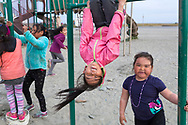 Barn leker i klätterställningar på lekplatsen i Shishmaref. Alaska, USA<br /> <br /> Fotograf: Christina Sjögren<br /> <br /> Photographer: Christina Sjogren<br /> Copyright 2018, All Rights Reserved