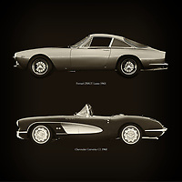 For the lover of old classic cars, this combination of a Ferrari 250GT Lusso 1963 and Chevrolet Corvette C1 1960 is truly a beautiful work to have in your home.<br /> The classic Ferrari 250GT and the beautiful Chevrolet Corvette C1 are among the most beautiful cars ever built.<br /> You can have this work printed in various materials and without loss of quality in all formats.<br /> For the oldtimer enthusiast, the series by the artist Jan Keteleer is a dream come true. The artist has made a fine selection of the very finest cars which he has meticulously painted down to the smallest detail. – –<br /> -<br /> <br /> BUY THIS PRINT AT<br /> <br /> FINE ART AMERICA<br /> ENGLISH<br /> https://janke.pixels.com/featured/ferrari-250gt-lusso-1963-and-chevrolet-corvette-c1-1960-jan-keteleer.html<br /> <br /> WADM / OH MY PRINTS<br /> DUTCH / FRENCH / GERMAN<br /> https://www.werkaandemuur.nl/nl/shopwerk/Ferrari-250GT-Lusso-1963-en-Chevrolet-Corvette-C1-1960/756049/132?mediumId=1&size=60x60<br /> –
